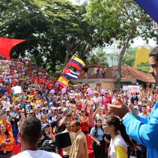 Venezuela's President Nicolas Maduro attends a meeting with supporters at Miraflores Palace in Caracas