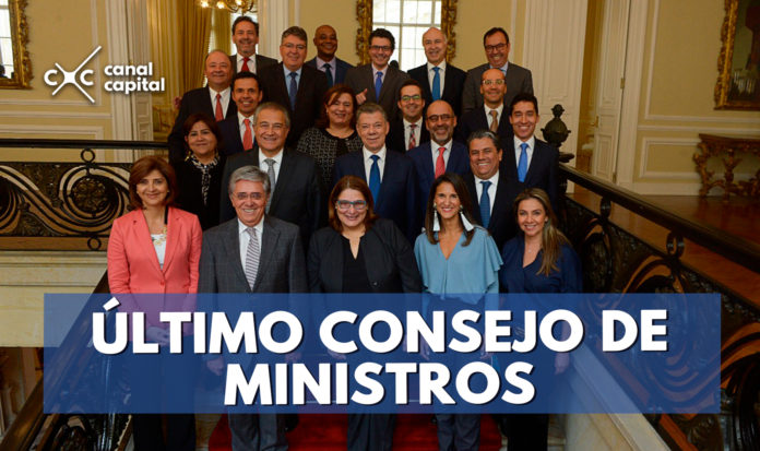 Despedida del presidente Santos en la última reunión del Consejo de Ministros