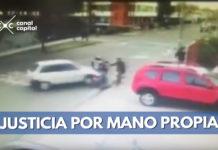 conductora arrolla a delincuentes