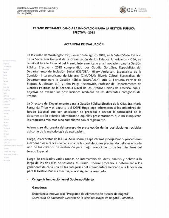 La OEA premia a la Secretaría de Educación Bogotá por su programa de Alimentación Escolar