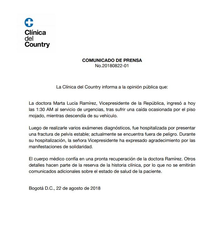 Comunicado de prensa estado de salud de Marta Lucía Ramírez