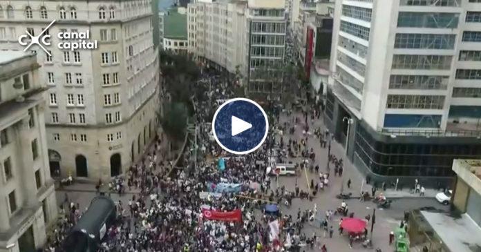 La marcha nacional en defensa de la educación pública, desde el cielo