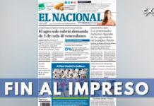 Versión impresa del periódico El Nacional de Venezuela dejará de circular por falta de papel
