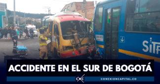 Accidente entre bus provisional y SITP zonal deja 14 heridos