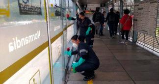 Jornada de limpieza y desinfección de TransMilenio.