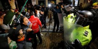 Hechos violentos entre la Policía y los manifestantes.