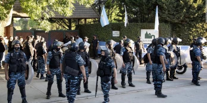 Seguridad en entierro de Maradona.