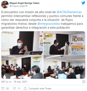 Twitter oficial de Miguel Barriga.